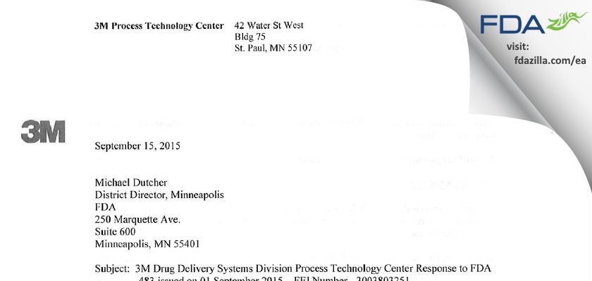 3M Company FDA inspection 483 Sep 2015