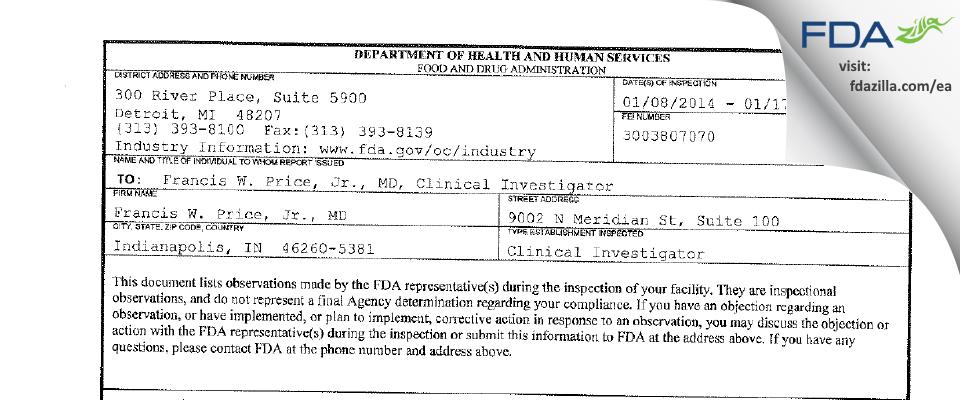 Francis W. Price, Jr., MD FDA inspection 483 Jan 2014