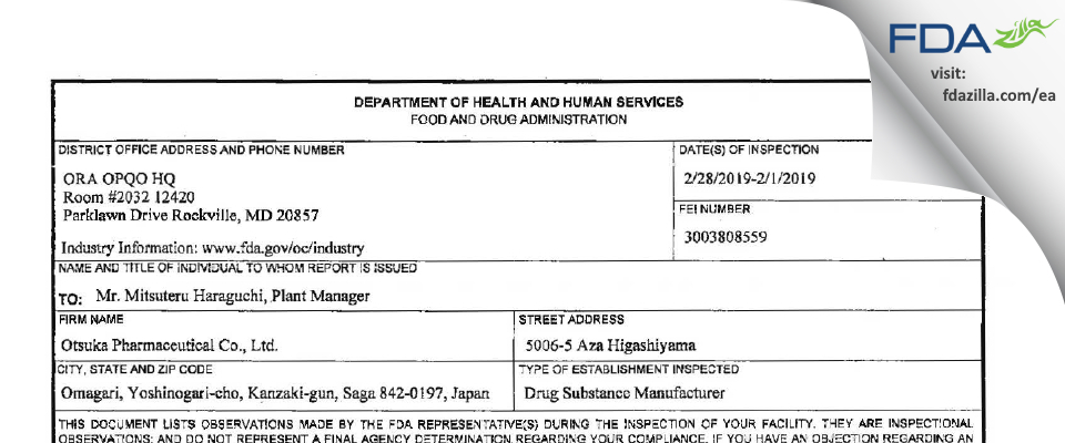 Otsuka Pharmaceutical FDA inspection 483 Feb 2019