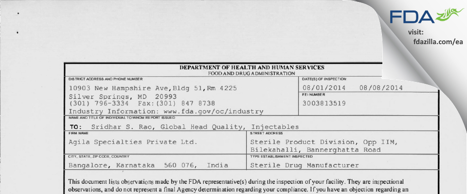 Mylan Labs Limited (Sterile Products Division) FDA inspection 483 Aug 2014