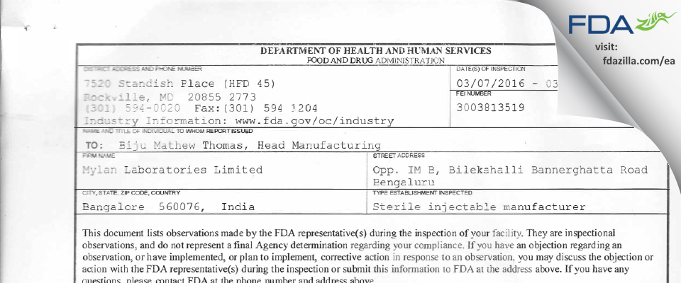 Mylan Labs Limited (Sterile Products Division) FDA inspection 483 Mar 2016