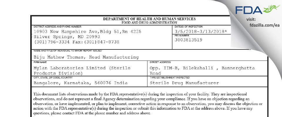 Mylan Labs Limited (Sterile Products Division) FDA inspection 483 Mar 2018