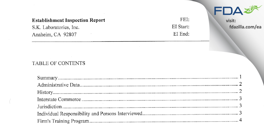 S.K. Labs FDA inspection 483 Feb 2012