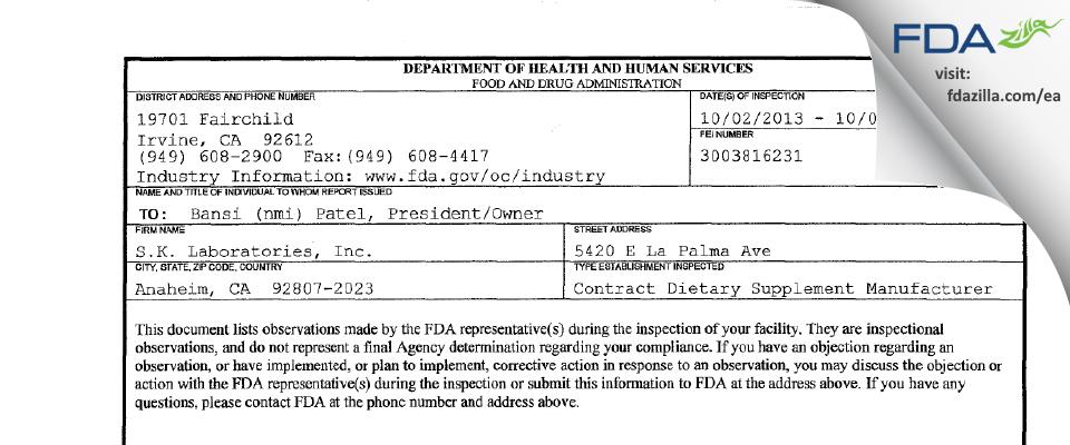 S.K. Labs FDA inspection 483 Oct 2013