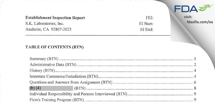 S.K. Labs FDA inspection 483 Nov 2013