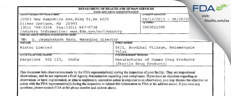 Wintac FDA inspection 483 Aug 2013