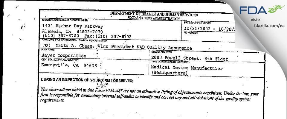 Siemens Healthcare Diagnostics FDA inspection 483 Oct 2002