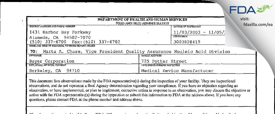 Siemens Healthcare Diagnostics FDA inspection 483 Nov 2003