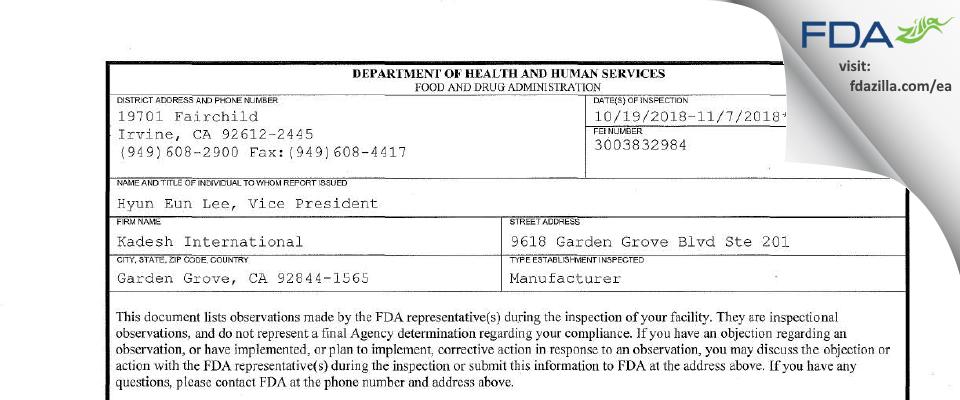 Kadesh International FDA inspection 483 Nov 2018