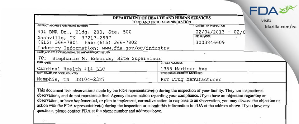 Cardinal Health 414 FDA inspection 483 Feb 2013