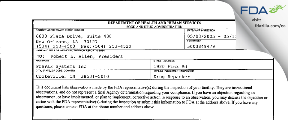 Aphena Pharma Solutions - Tennessee FDA inspection 483 May 2005