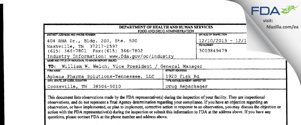 Aphena Pharma Solutions FDA inspection 483 Dec 2013