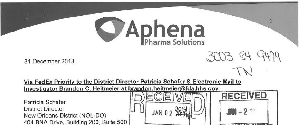 Aphena Pharma Solutions - Tennessee FDA inspection 483 Dec 2013