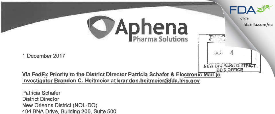 Aphena Pharma Solutions FDA inspection 483 Nov 2017