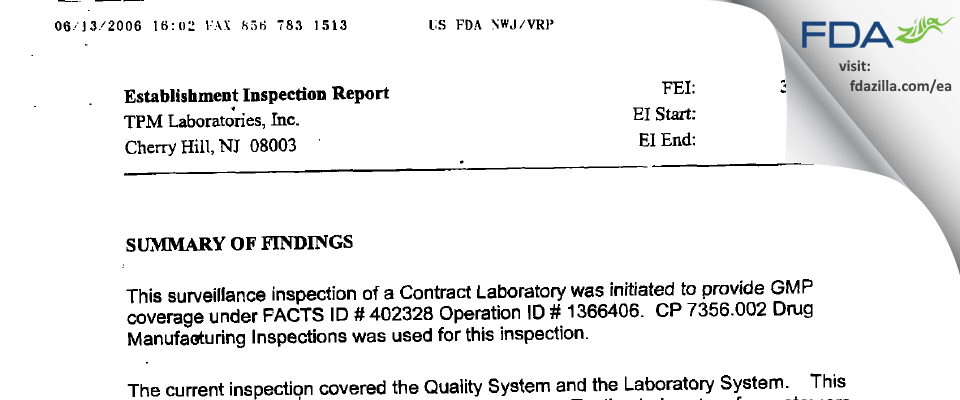 TPM Labs FDA inspection 483 Jun 2003