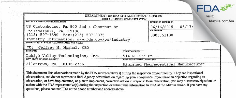 Genus Lifesciences FDA inspection 483 Jun 2015