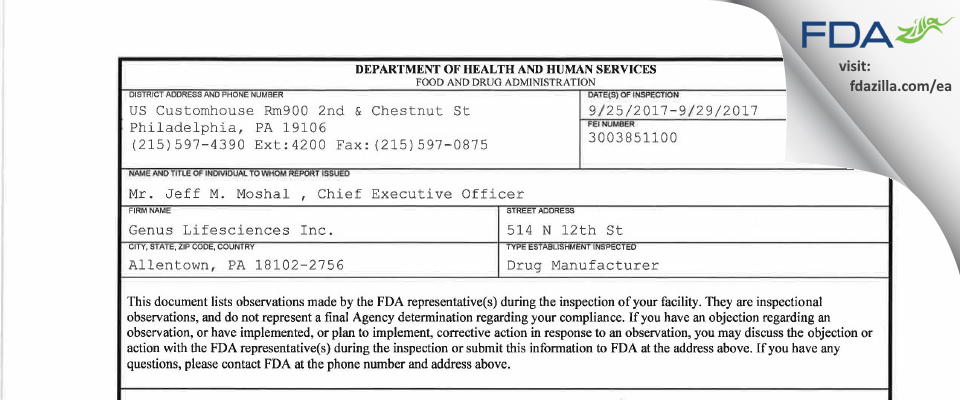 Genus Lifesciences FDA inspection 483 Sep 2017