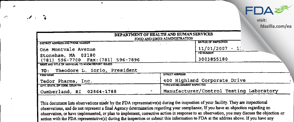 Tedor Pharma FDA inspection 483 Nov 2007