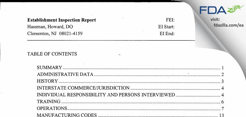 Hassman, Howard, DO FDA inspection 483 Sep 2007