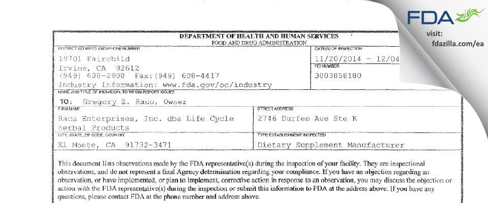 Raca Enterprises dba Life Cycle Herbal Products FDA inspection 483 Dec 2014
