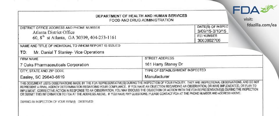 7 OAKS PHARMACEUTICAL FDA inspection 483 Mar 2015