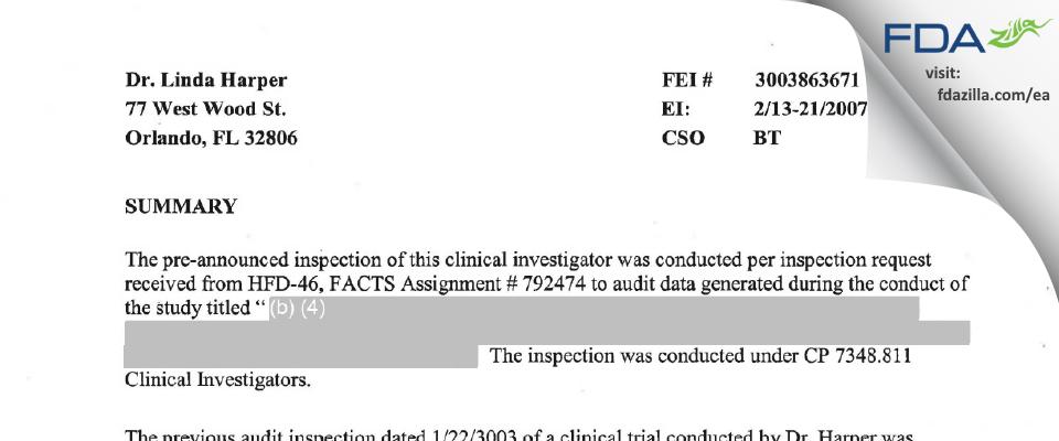Linda Harper, M.D. FDA inspection 483 Feb 2007