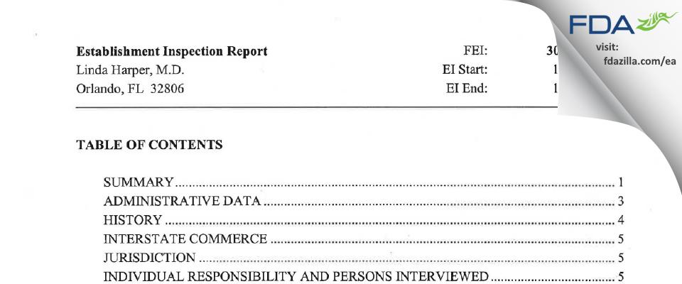 Linda Harper, M.D. FDA inspection 483 Oct 2007