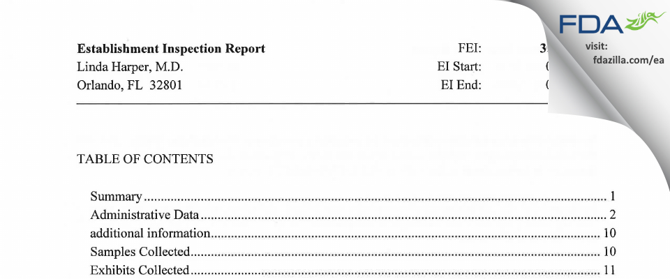 Linda Harper, M.D. FDA inspection 483 Jun 2014