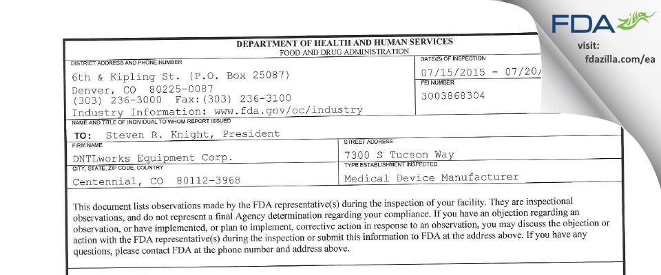 DNTLworks Equipment FDA inspection 483 Jul 2015