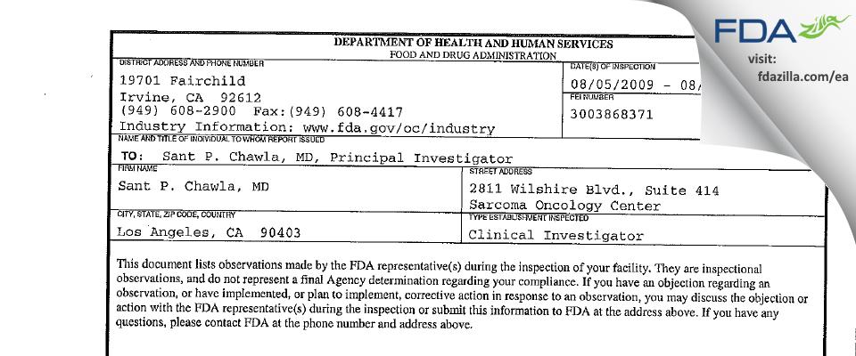 Sant P. Chawla, MD FDA inspection 483 Aug 2009