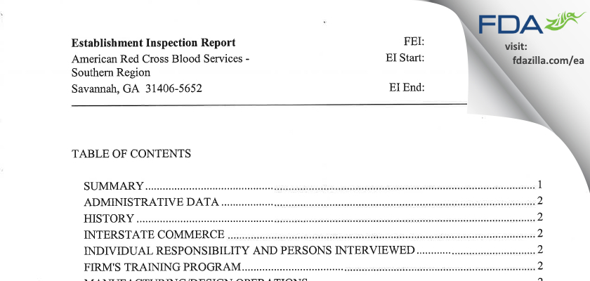 American Red Cross Blood Services - Southern Region FDA inspection 483 Nov 2011