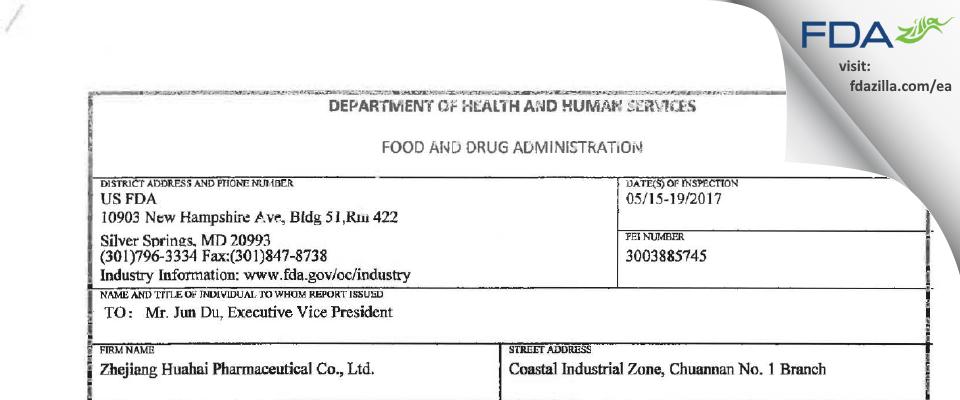 Zhejiang Huahai Pharmaceutical FDA inspection 483 May 2017