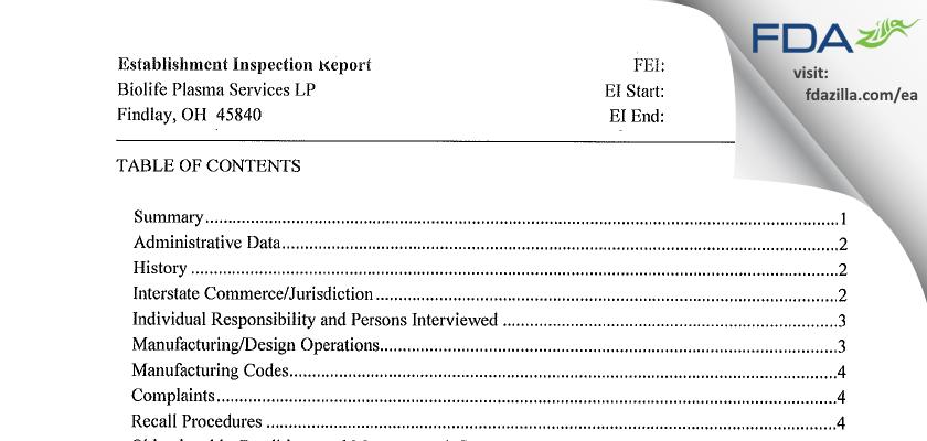 Biolife Plasma Services L.P. FDA inspection 483 Feb 2015