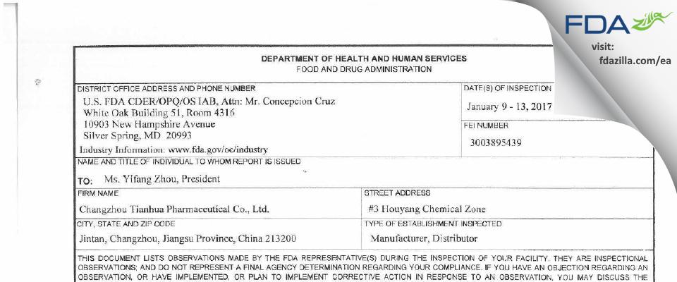 Changzhou Tianhua Pharmaceutical FDA inspection 483 Jan 2017
