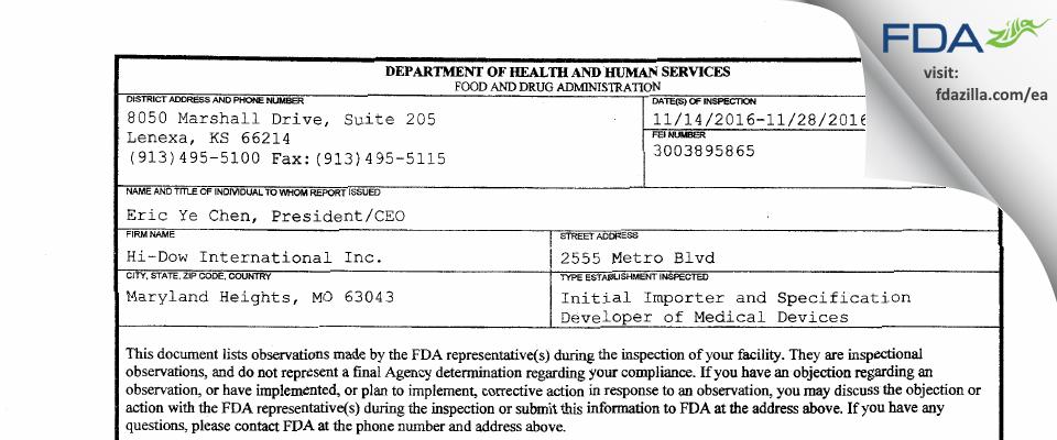 Hi-Dow International FDA inspection 483 Nov 2016