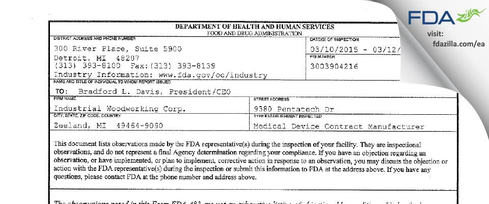 Industrial Woodworking FDA inspection 483 Mar 2015