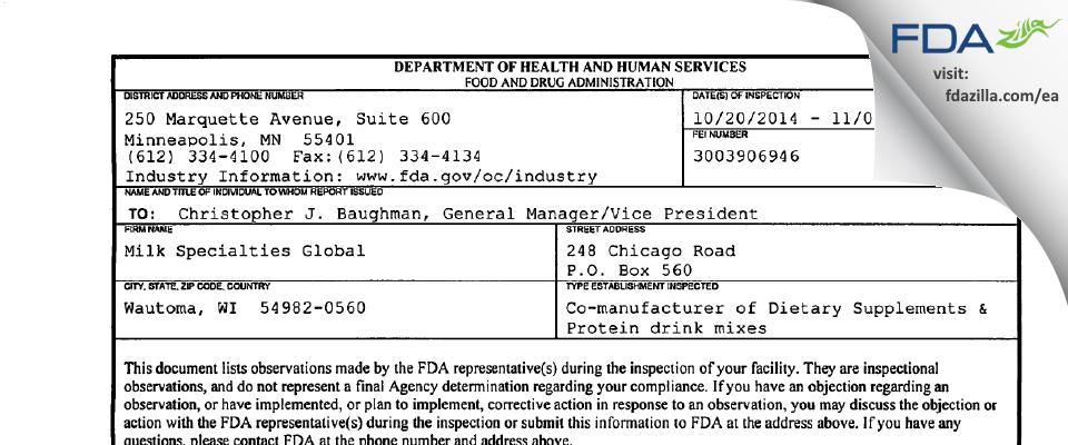 Milk Specialties Company dba Milk Specialties Global FDA inspection 483 Nov 2014