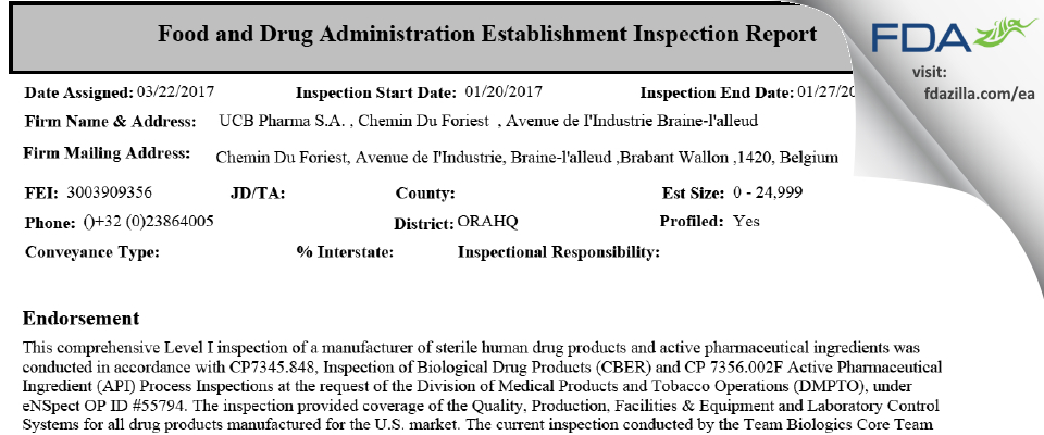 UCB Pharma FDA inspection 483 Jan 2017