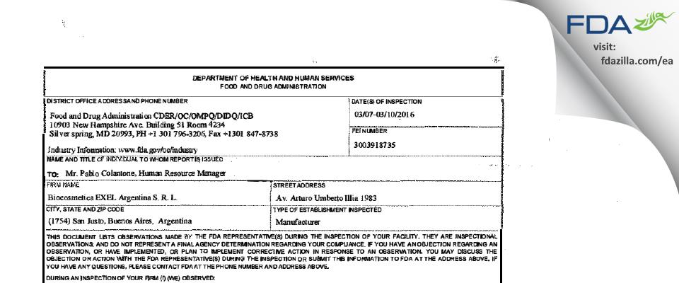 Biocosmetica Excel Argentina S.R.L. FDA inspection 483 Mar 2016