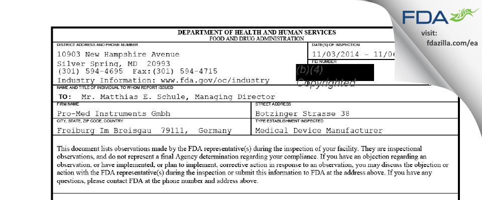 Pro-Med Instruments Gmbh FDA inspection 483 Nov 2014