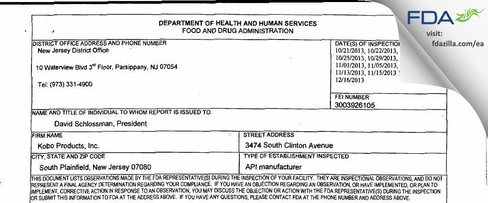 Kobo Products FDA inspection 483 Dec 2013