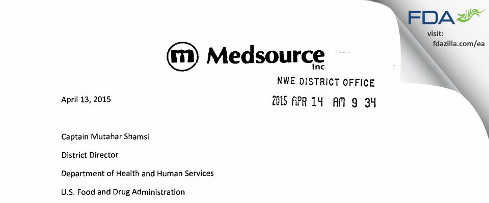 Medsource FDA inspection 483 Mar 2015