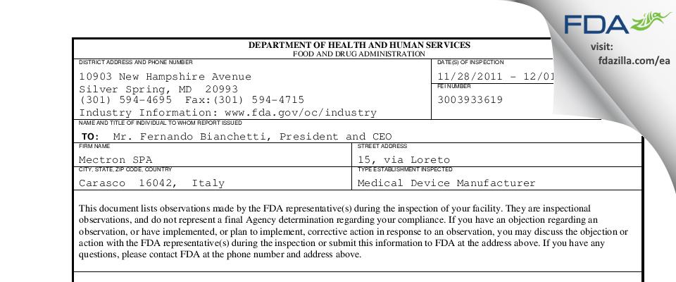 Mectron SPA FDA inspection 483 Dec 2011