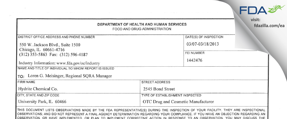 Hydrite Chemicals FDA inspection 483 Mar 2013