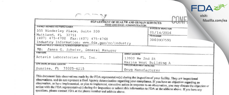 Actavis Labs FL FDA inspection 483 Jan 2016