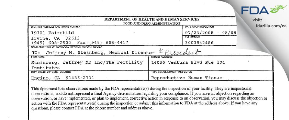 Steinberg, Jeffrey Md., DBA The Fertility Institutes FDA inspection 483 Aug 2008
