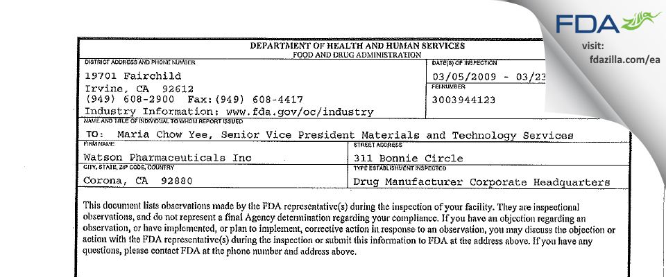 Watson Pharmaceuticals FDA inspection 483 Mar 2009
