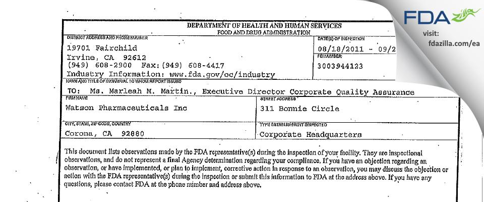 Watson Pharmaceuticals FDA inspection 483 Sep 2011