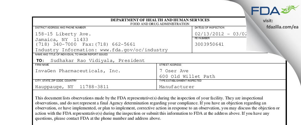 InvaGen Pharmaceuticals FDA inspection 483 Mar 2012
