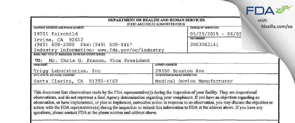 Trigg Labs dba Wet International FDA inspection 483 Jun 2015